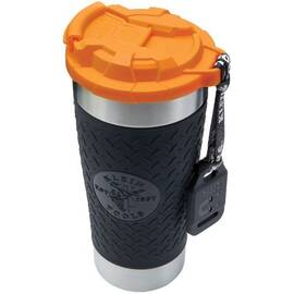 Klein® Tradesman Pro™ 55580 Vacuum Insulated Tumbler With Polypropylene Flip-Top Lid, 20 oz Capacity, Black/Orange, Stainless Steel, 3.59 in Dia x 8.4 in H