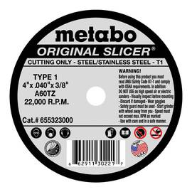 Metabo® 655323000 Original Slicer® Type 1 Straight Cut-Off Wheel, 4 In Dia X 0.04 In Thk, 3/8 In, A60Tz Grit, Aluminum Oxide Abrasive