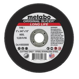 Metabo® 655335000 Original Slicer® Long Life Type 1 Straight Tough Cut-Off Wheel, 5 In Dia X 0.045 In Thk, 7/8 In, A60Xl Grit, Aluminum Oxide Abrasive