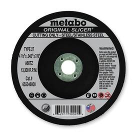 Metabo® 655346000 Original Slicer® Type 27 Flexible General Purpose Depressed Center Wheel, 4-1/2 In Dia X 0.045 In Thk, 7/8 In, A60Tz Grit, Aluminum Oxide Abrasive