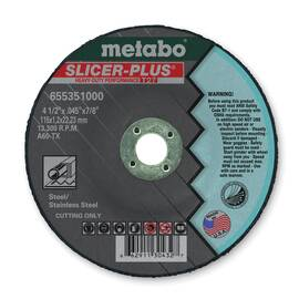 Metabo® 655351000 Slicer Plus® Type 27 Aggressive Cool Cutting Heavy Duty Performance Depressed Center Wheel, 4-1/2 In Dia X 0.045 In Thk, 7/8 In, A60Tx Grit, Aluminum Oxide Abrasive