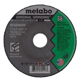 Metabo® 655660000 Original Grinding® Type 27 General Purpose Depressed Center Wheel With Hub, 7 In Dia X 1/4 In Thk, 5/8-11, C24N Grit, Silicon Carbide Abrasive