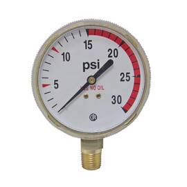 Uniweld® G22D Replacement Gauge (0-30 psi) Brass Case Red Line 15 - 30 psi